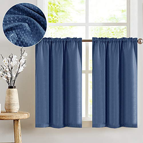 jinchan Waffle-Weave Tier Curtains for Kitchen Water Repellent Bathroom Shower Curtain Panels 72' x 36' Navy Blue 2 Pieces