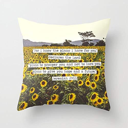 PPMP Funda de cojín de Girasol Fundas de para sofá de Verano Dormitorio decoración del hogar Coche Oficina Decorativo 45x45 cm A9 45x45 cm