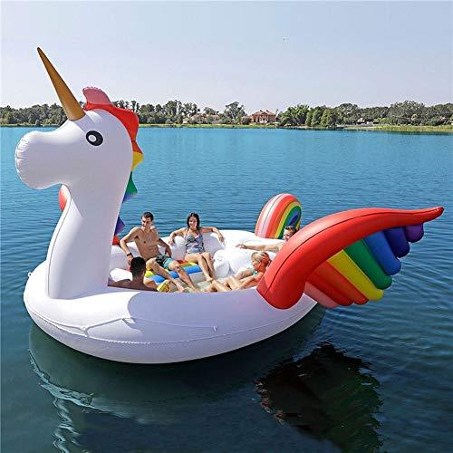 L-SLWI Aufblasbare Insel Wasser Surfen Spielzeug Für Erwachsene 3-6 Personen, 157 * 145.6 * 94.4In Aufblasbares Einhorn Flamingo, Geeignet Für Outdoor, Schwimmen,Unicorn