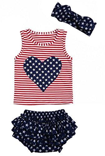 Infant Girls USA Flag Print Sleeveless Vest Tops+Ruffle Shorts 3Pcs Outfits Set Size 12-18 Months...