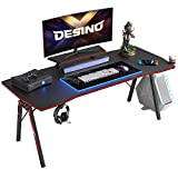 DESINO Gaming Desk 55 inch PC Computer Desk, Home Office Desk Table Gamer Workstation with Cup Holder and Headphone Hook, Black