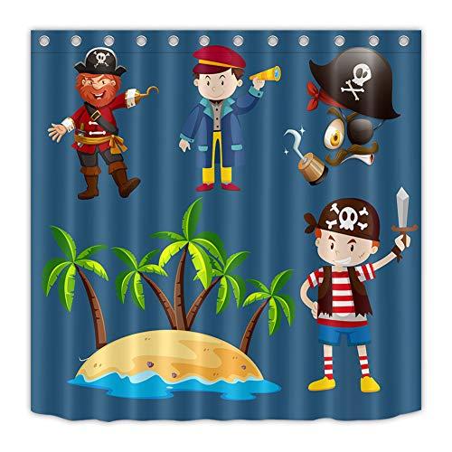 ZZdz Eiland. Piraat. Zeeman. Woondecoratie. Douchegordijn. 180 x 180 cm. 3D Hd Afdrukken. Waterdicht. Eenvoudig te reinigen. 12 vrije haken.