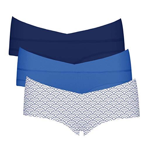 Intimate Portal Femme Petite Culottes Berceau de Maternité et Grossesse Boxer Shorties sous-vêtements en Coton 3 Lot Bleu Bleu Vagues L
