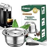 CAPMESSO Coffee Capsule, Stainless Steel Reusable Coffee Pod for Espresso Nespresso Refillable Vertuo Capsule Pod Vertuoline GCA1 and Delonghi ENV135 (8oz-Coffee Cup(Big)