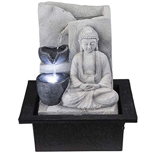LED Tisch Zier Brunnen grau BUDDHA Design Wohn Zimmer Asia Wasser Spiel Deko Lampe