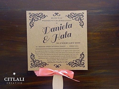 10qty Kraft Vintage Flourish Wedding Programs with Wooden Handle