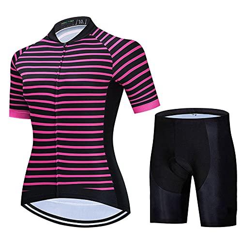 HXTSWGS Maillot Ciclismo Mujer, Jersey Mangas Cortas + 9D Gel Shorts Ciclismo Conjunto De Ropa Maillot para Deportes Al Aire Libre Ciclo Bicicleta-A06_3XL