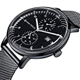 Mini Focus Reloj Hombre, Relojes de Cuarzo Luminosos de Acero Inoxidable Calendario Impermeable Relojes Deportivos de Negocios para Hombres con Caja para Regalo de Esposo (Black)