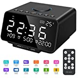 Leyuee Radiowecker Digital FM AM Digitaler Wecker Dual Alarm mit Dual USB-Ladeanschluss Snooze-Funktion Bluetooth 4.2 Lautsprecher Anpassbare Helligkeitsregulierung 12/24-Stunden