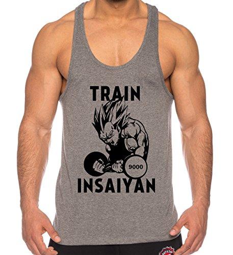 THE LION Vegeta Train Insaiyan de los Hombres Camisa del músculo One Goku Dragon Master Son Ball Vegeta Turtle Roshi Piece Gym, Farbe2:Gris;Größe2:XXL