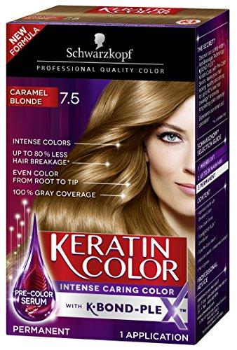 Schwarzkopf Keratin Color Permanent Hair Color Cream, 7.5 Caramel Blonde(Packaging May Vary)