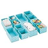 mDesign Juego de 12 Cajas de almacenaje para habitación Infantil, baño, etc....
