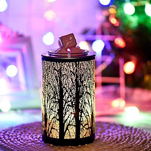 HaavPoois Elektrischer Ölbrenner für Wachs Schmelzen Glas 3D schwarze Zweige Aromatherapie Lampe Nachtlicht Heimdekoration für Büro Schlafzimmer Wohnzimmer (schwarze Zweige)