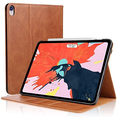D DINGRICH Hülle 11 Inch Kompatibel mit ipad pro 11, Magnetischen Schlaf/Wach Echtleder, Support Apple Pencil Charging, Standfunktion, iPad 2018 case- Braun