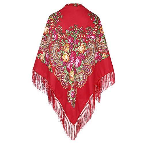 Traditioneller ukrainischer russischer Schal und Wickeltuch mit Quaste Pavlovo Posad für Damen,Rot