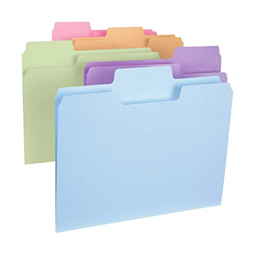Smead SuperTab File Folder, Oversized 1/3-Cut Tab, Letter Size, Assorted Colors,100 per Box (11961)