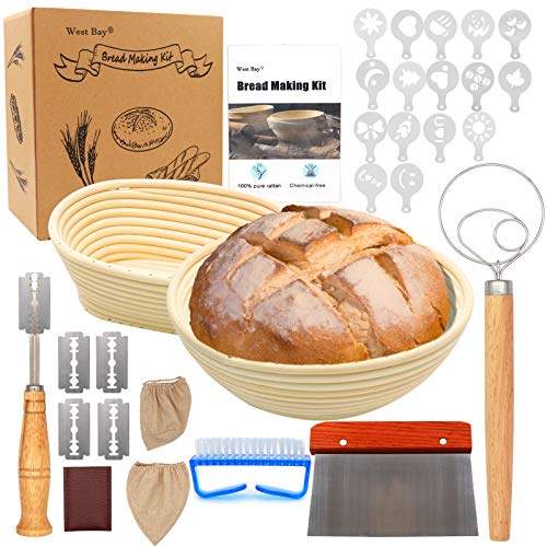 32Pcs Bread Proofing Basket Set, West Bay 10 Inch Round & 8 Inch Oval Cane Sourdough Baskets with Bread Lame Dough Scraper,Linen Liner,Brush, Flouring Stencils,Fermentation Danish Dough Whisk