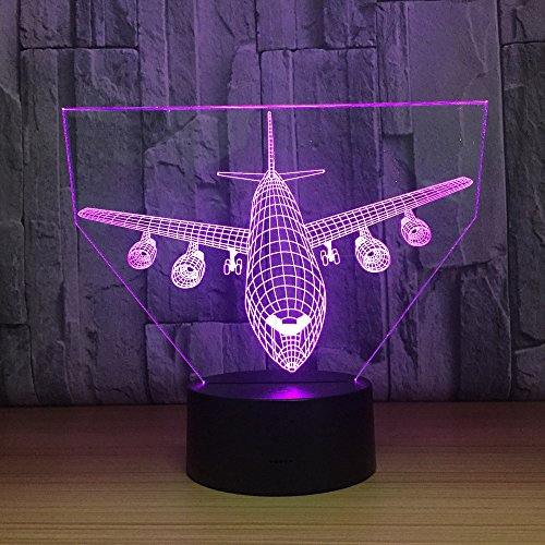3D-nachtlampje voor kinderen met vliegtuig in 7 kleuren, met afstandsbediening, sfeerlicht, vakantie en verjaardagscadeau voor jongens en meisjes