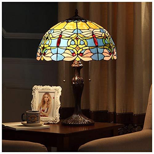 CJW Lampe de table de café européen - Salle de séjour classique classique de mariage avec salle de travail et salon bleu jaune grand 40cm (16 pouces)
