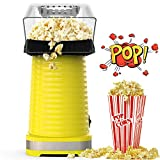 Hot Air Popcorn Maker Machine, Popcorn Popper for Home, ETL Certified, No Oil, Healthy Snack for Kids Adults, Removable Measuring Cup, Perfect for Party Birthday Gift, Yellow-1200W