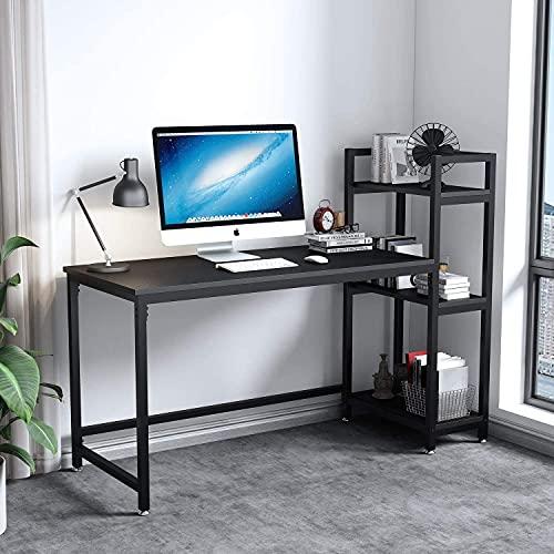 Dripex Mesa Escritorio Ordenador con Estantes Reversibles,Escritorio de Esquina con Almacenamiento, Mesa Estudio PC 126x60x108cm,Moderno, Resistente y Estable, Mesa Madera Oficina casa,Negro