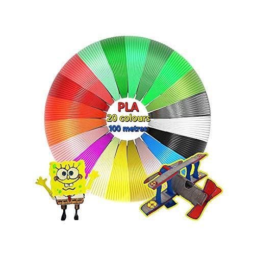 AhGuwa - 3D Filamento 20 Colores 5 Metro 1.75 mm, Total 100 Metres, PLA Materiales de Impresión para la 3D Pluma. Material Ecológico y Saludable