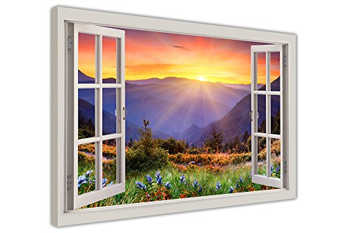 SUNRISE MOUNTAIN VIEW 3D WINDOW EFFECT FRAMED PICTURES CANVAS WALL ART PRINTS HOME DECO IMAGES SIZE: A3-16' X 12' (40CM X 30CM)