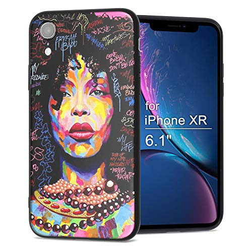 iPhone XR Case African American Afro Girls Women Slim Fit Shockproof Bumper Cheap Cell Phone Accessories Thin Soft Black TPU Protective Apple iPhone XR Cases (01)