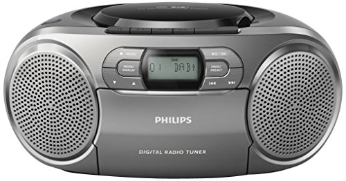 Philips Tragbarer CD-Radiorekorder AZB600/12 Portabler CD-Player (Dynamic Bass Boost, DAB+, CD-/Kassettendeck, 3,5-mm-Audioeingang) Dunkelsilber