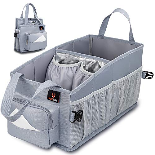 Easy-to-Reach Kids Car Organizer Between Seats | For Back Seat Travel Car Organizer with Tissue Box and Insulated Cup Holder | Backseat Car Storage for Toddlers | Next to Car Seat Car Tote (Grey)