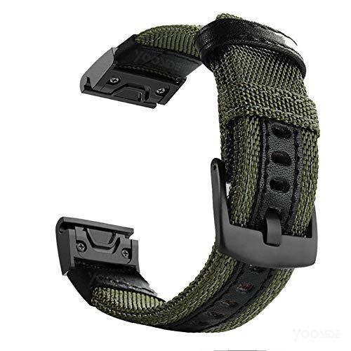 YOOSIDE Watch Strap for Garmin Fenix 6/Fenix 5, 22mm Quick Easy Fit Nylon Durable Watch Band Strap for Garmin Fenix 6 Pro/Sapphire,Fenix 5/5 Plus,Instinct,Forerunner 935/945(Green)