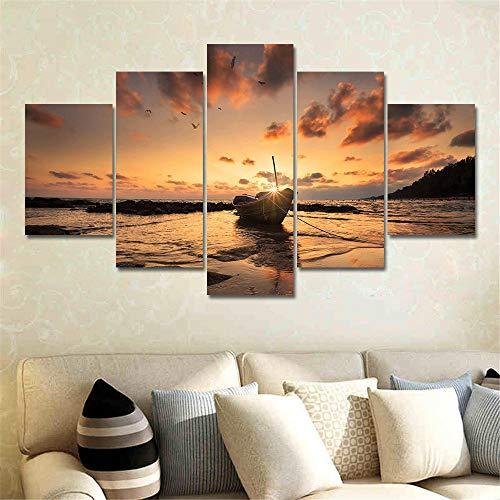 Muurkunst Voor Woonkamer Schilderij Modulair Landschap Frameloze Zee Zeilboot Landschap Olieverfschilderij Huis Muur Decoratie Canvas Schilderij