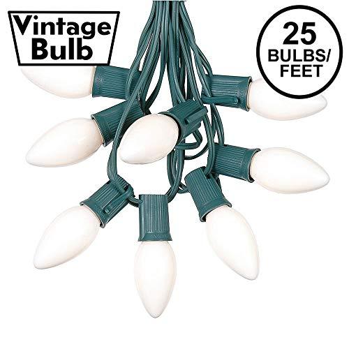 25 Foot C9 White Ceramic Christmas String Light Set - Outdoor Christmas Light String - Christmas Tree Lights – Opaque Christmas Bulbs - Roofline Light String – Outdoor String Lights - Green Wire
