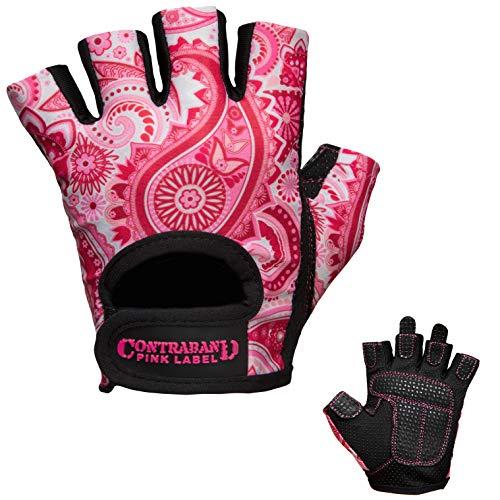 Contraband Pink Label 5387 Womens Design Series Paisley Print Lifting Gloves (Pair) - Lightweight Vegan Medium Padded Microfiber Amara Leather w/Griplock Silicone (Pink, Medium)