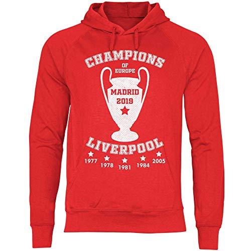wowshirt Sudadera con Capucha Liverpool Champions Jersey Madrid 2019 Jürgen Klopp para Hombre, Tamaño:L, Color:Red