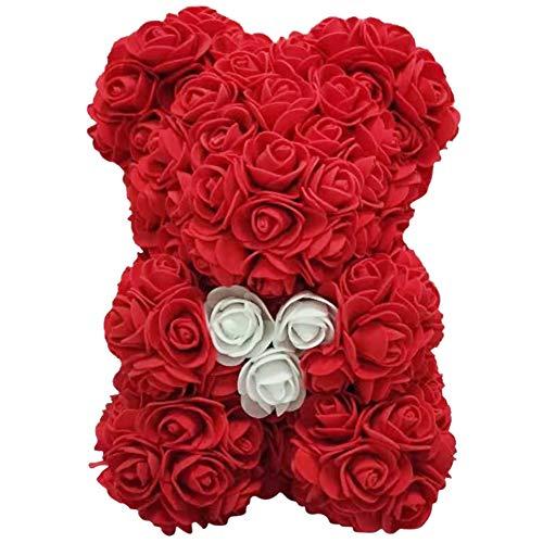 Demiawaking Orso Rose 25 CM Fiori Artificiali Orsetto di Rose Orso Rose Finte in Schiuma Bambola Regalo per Compleanno San Valentin Anniversario (Rosso)