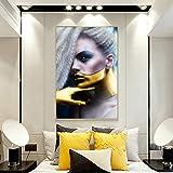 QWESFX Ritratto moderno Poster d'arte Arte murale Tela Pittura Personalità Donna Immagine Soggiorno Decorazioni per la casa D 60x90cm