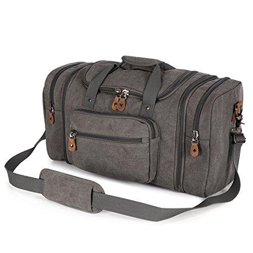 Plambag Canvas Duffle Bag for Travel, 50L Duffel Overnight Weekend Bag(Gray)