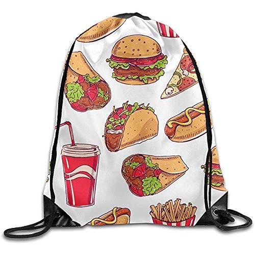 huatongxin Unisex Sac d épaule,Drawstring Backpack,Tote School Rucksack,Sac de Sport léger,Hot Dog Hamburger Pizza Slice Pattern Travel String Pull Bag,Sport Cinch Pack,Gym Sack Bag