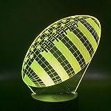 Lampe 3D Rugby Football Sport Ballon Jeux Chambre Décoration avec télécommande meilleur cadeau de vacances pour n Night Light Lamp