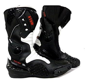 Bottes de Moto XTRM Core Adulte Bottes Hommes & Femmes Scooter Quad Rider sur Route Course Tournee Sport Armure de certifie CE Bottes Longues - Noir Blanc - EU43 /UK9