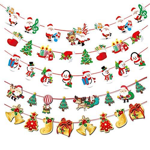 クリスマスガーランド クリスマス飾り 5本入 クリスマスツリー ガーデン 装飾籐 サンタクロース 靴下 パーティー 店舗 部屋 幼稚園 教室 イベント インテリア デコレーション オーナメント