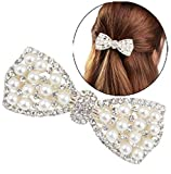 DNHCLL Pearl Bow Hairpin Set With Drill Water Drill Cross Pin Headdress Ponytail Clip for Womens(Silver)