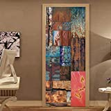 Mural Puerta 3D Sopa De Pescado Extraíble Impermeable Diy Adhesivo Decorativo De Puerta Autoadhesivo De Bricolaje Pegatinas De Pared Decoración De Hogar Arte Moderno77*200