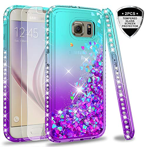 Galaxy S6 Glitter Case with Tempered Glass Screen Protector [2 Pack] for Girls Women, LeYi Bling Sparkle Diamond Liquid Quicksand Flowing TPU Protective Phone Case for Samsung Galaxy S6 Teal/Purple