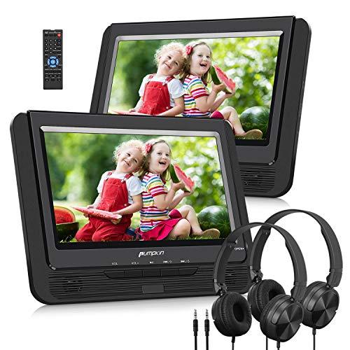 Pumpkin DVD-Player Dual Display Auto 9Daumen unterstützt USB SD MMC wiederaufladbarer Akku 2600mAh mit Schutzhülle, Montage in Auto (EIN DVD-Player und Einem...