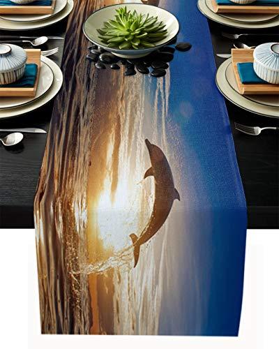 FAMILYDECOR Camino de mesa de arpillera de lino, bufandas de 45 x 182 cm, delfines saltando en el mar al atardecer, caminos de mesa para fiestas de vacaciones, comedor, cocina, decoración de boda
