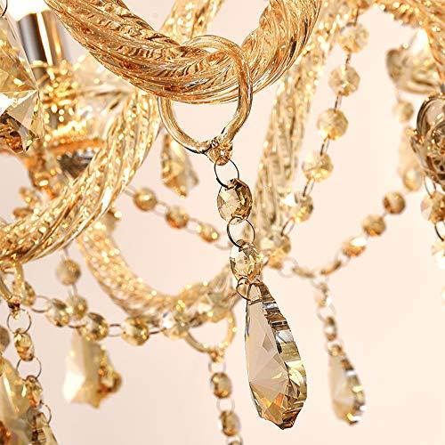Samger Samger Luxuriöse 10 Arm Kronleuchter K9 Kristallglas Deckenleuchte Pendelleuchte Cognac Farbe für Wohnzimmer Schlafzimmer Flur Eintrag - 5