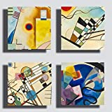Printerland - Cuadros modernos estilo Kandinsky, 4 piezas, 30 x 30 cm, impresión sobre lienzo, decoración artística XXL, decoración para salón, dormitorio, cocina, oficina, bar, restaurante