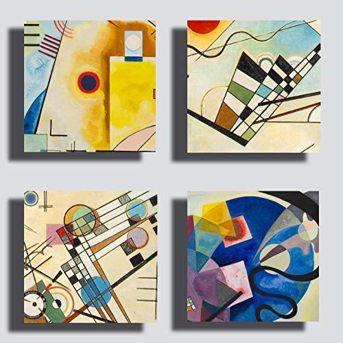 Moderne Gemälde im Kandinsky-Stil, 4 Stück, 30 x 30 cm, gelb, blau, rot, Druck auf Leinwand, Kunst, XXL, Wohnzimmermöbel, Schlafzimmer, Küche, Büro, Bar, Restaurant